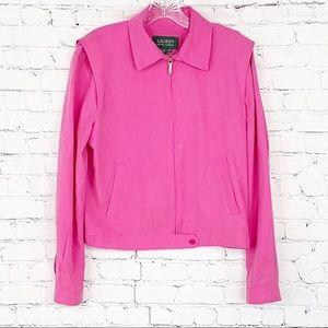 Pink Ralph Lauren Silk cropped jacket, size: M